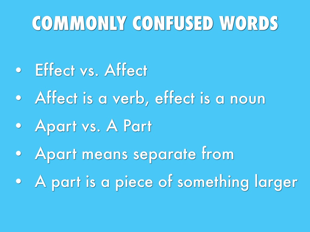 the common confusion between words affect and effect Words that sound alike but are spelled differently so we thought we'd cover the top 20 most commonly confused homophones 1 affect/effect.