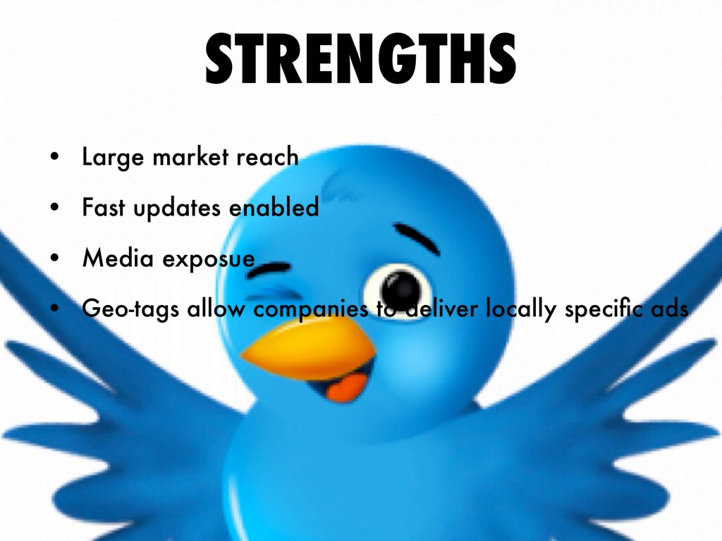 twitter swot analysis Twitter was created on march 21, 2006 short burst of inconsequential information currently 550,000,000 active twitter accounts created by jack dorsey, evan williams, biz stone, and noah glass online social networking that enables users to send and read short messages called tweets .