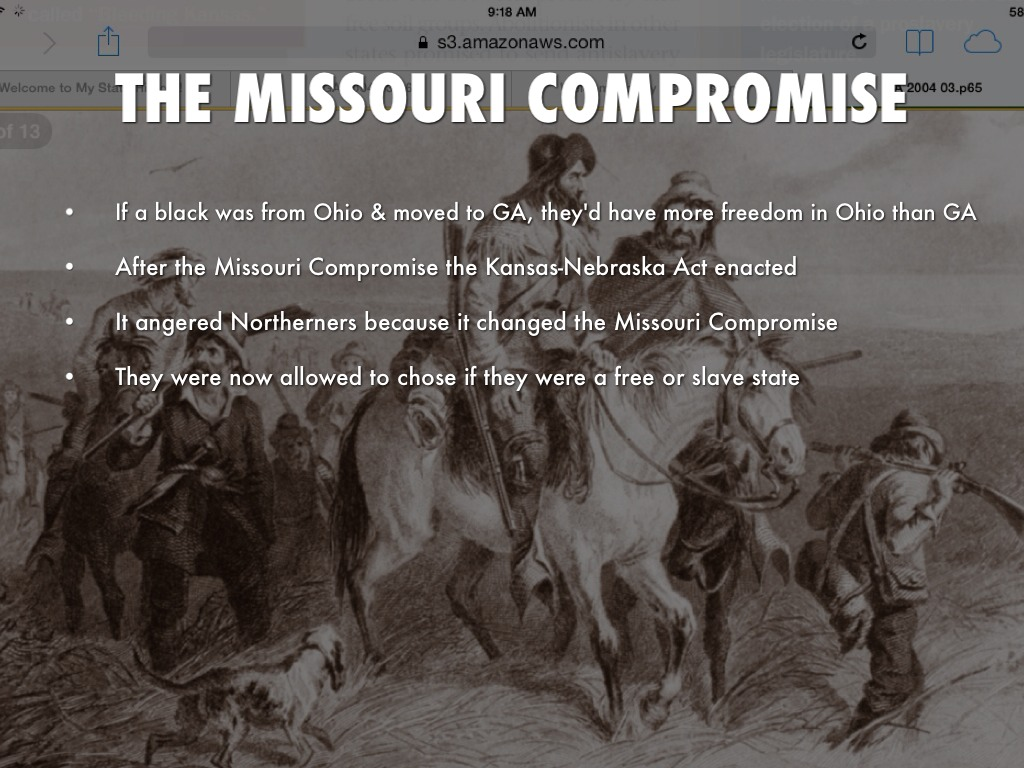 the outcomes of the missouri compromise and the compromise of 1850 The missouri compromise and the compromise of 1850 answer the questions that follow on your own paper using complete sentences the questions are under the section.