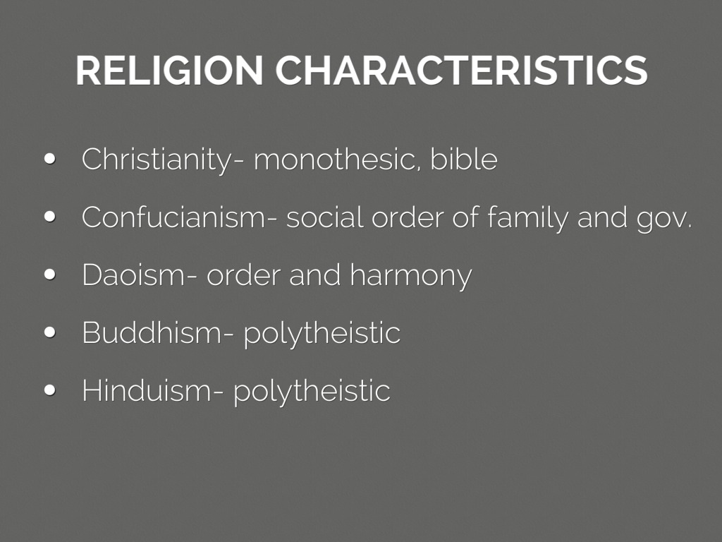 characteristics of religion Due to the presence of greek colonies on the lower peninsula, the romans adopted many of the greek gods as their own religion and myth became one under this greek influence, the roman gods became more anthropomorphic – with the human characteristics of jealousy, love, hate, etc however, this.