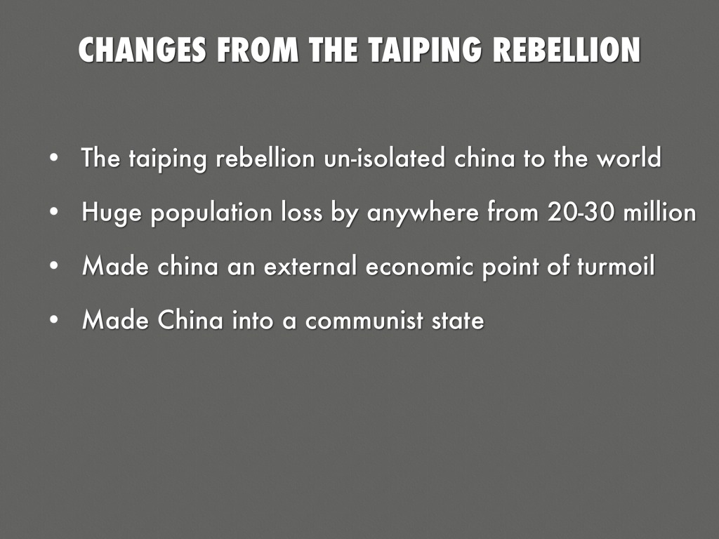 causes and results of the taiping rebellion Cause and effects of the boxer rebellion causes western imperialism- placed china in a series of 'unequal treaties', foreigners treated local people as inferiors.