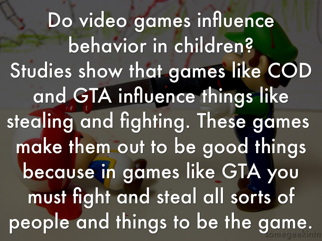 video game influences Video games have become very sophisticated and realistic some games connect to the internet, which can allow children and adolescents to play games and have.