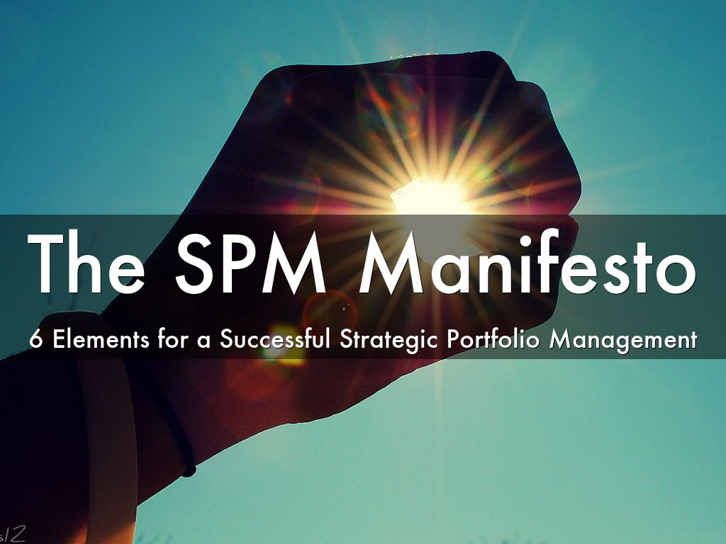 Strategic Portfolio Management Manifesto