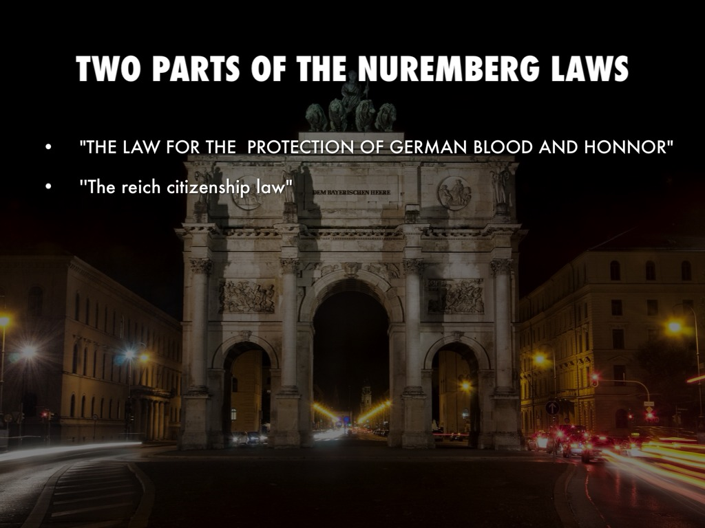 nuremberg laws The nuremberg race laws were two in a series of key decrees, legislative acts, and case law in.