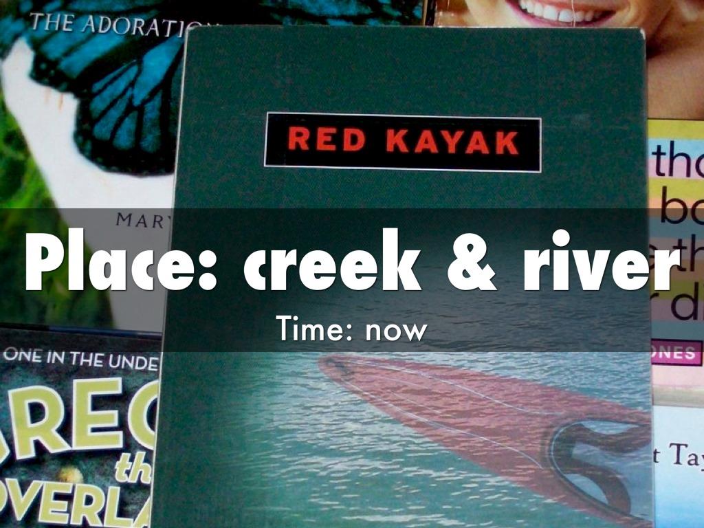 red kayak setting