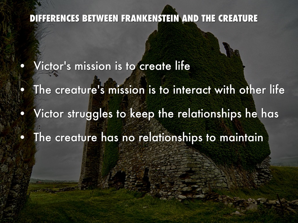 relationship between frankestein and the creature essay Frankenstein revolves around the conflict between two characters, victor frankenstein and the creature at first glance, the discordant enemies appear to be nothing alike since they are adversaries from the first time they see each other.