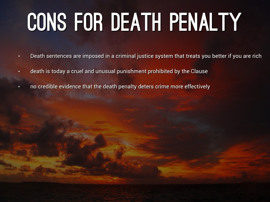 pro/con essay on death penalty (may 30, 2006) - the death penalty is a sentence that should be abolished should we do to the criminal as they did to the victim is there a chance that the accused is innocent.