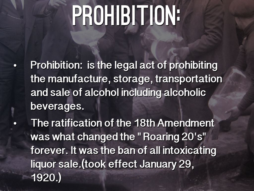 1920 prohibition outline This ohio state university production explores prohibition it analyzes the  an  outline of movie studio, technological innovation in the 1920s.
