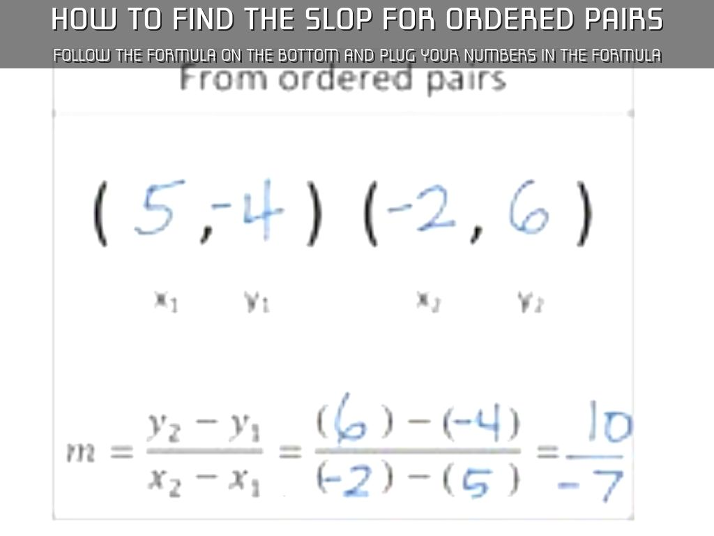 How To Find The Slop For Ordered Pairs
