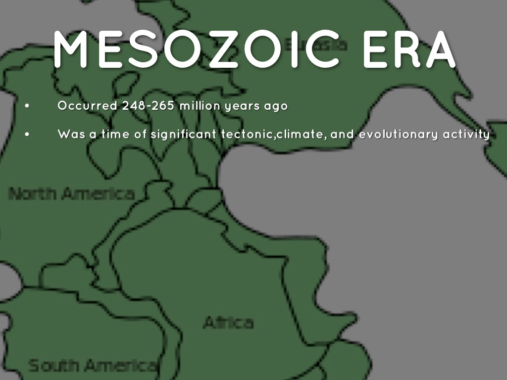 "mesozoic era Mesozoic era: mesozoic era, second of earth's three major geologic eras of phanerozoic time its name is derived from the greek term for ""middle life"" the mesozoic era began 2522 million years ago, following the conclusion of the paleozoic era, and ended 66 million years ago, at the dawn of the cenozoic era."
