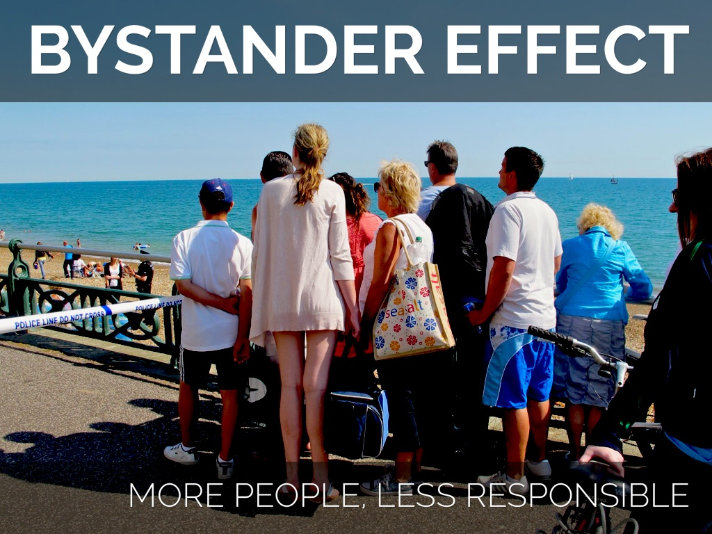 bystander effect The bystander effect is a tragic, yet real, part of the human experience why do we not help others when they may or may not be in trouble video examples of this very interesting psychological concept are provided.