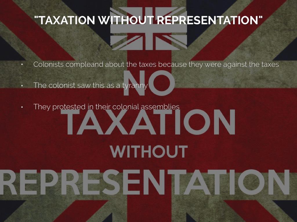taxation without representation Taxation without representation the issue thus drawn centered on the question of representation from the colonies' point of view, it was impossible to consider themselves represented in parliament unless they actually elected.