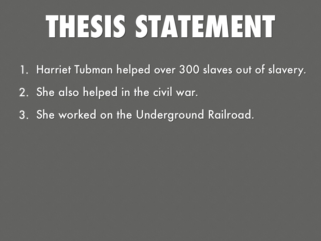 thesis statement about the underground railroad