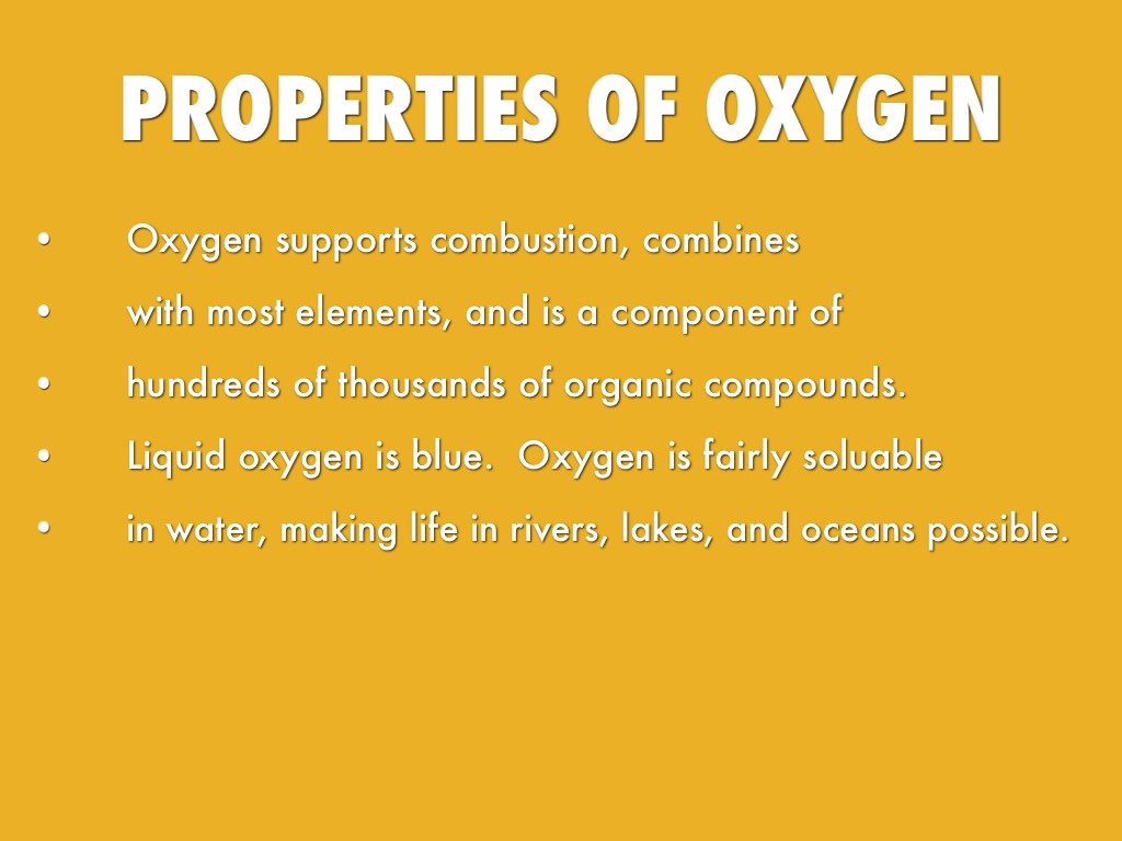 Physical Properties Of Oxygen Gas