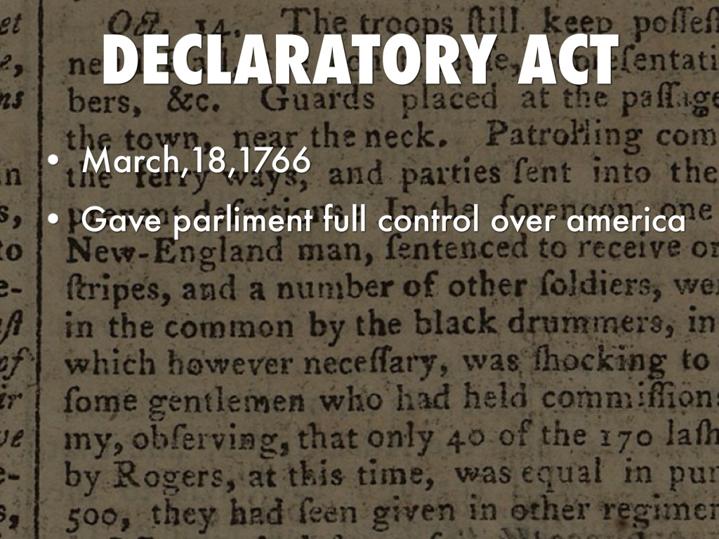 Declaratory Act Events Leading To The ...