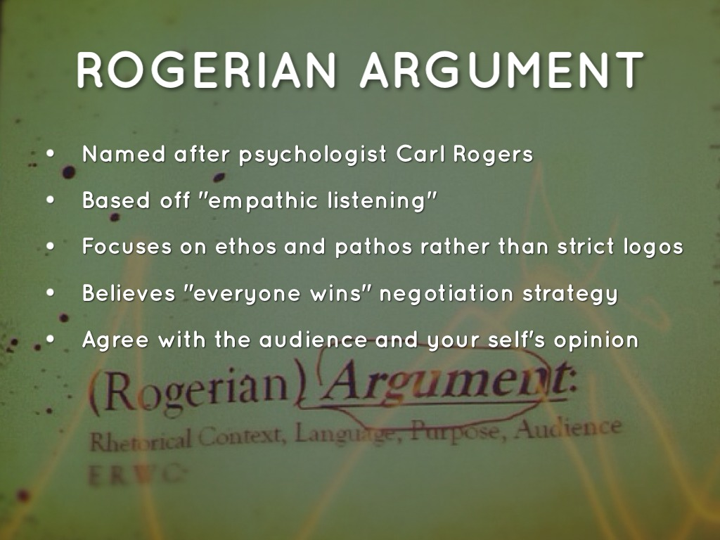 rogerian argument essay outline Rogerian method of argumentation use this outline if you are looking at two sides of an issue and want to reach a compromise end your essay on a hopeful note.