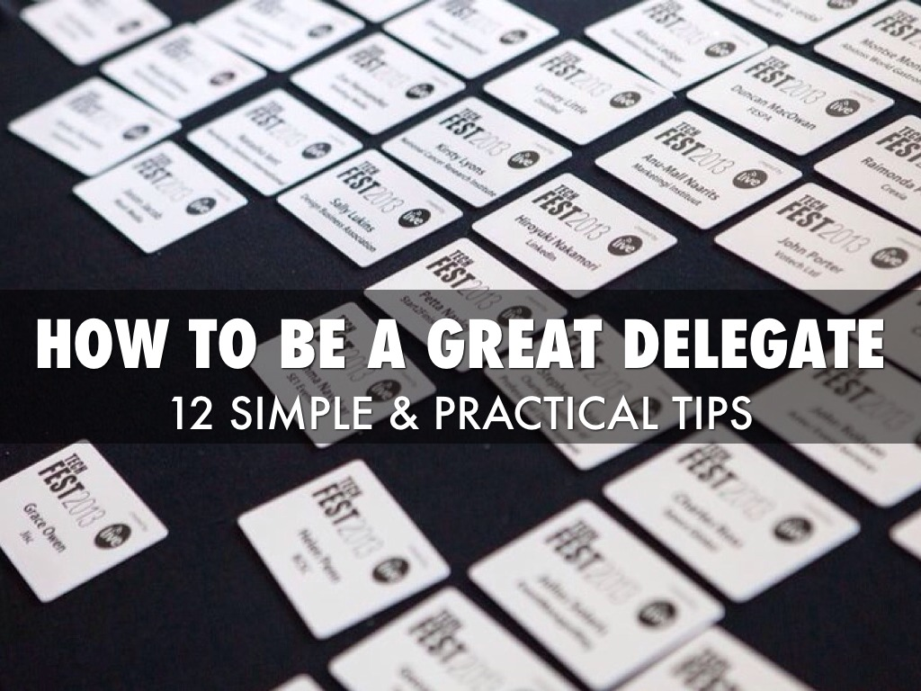 How To Be A Great Delegate