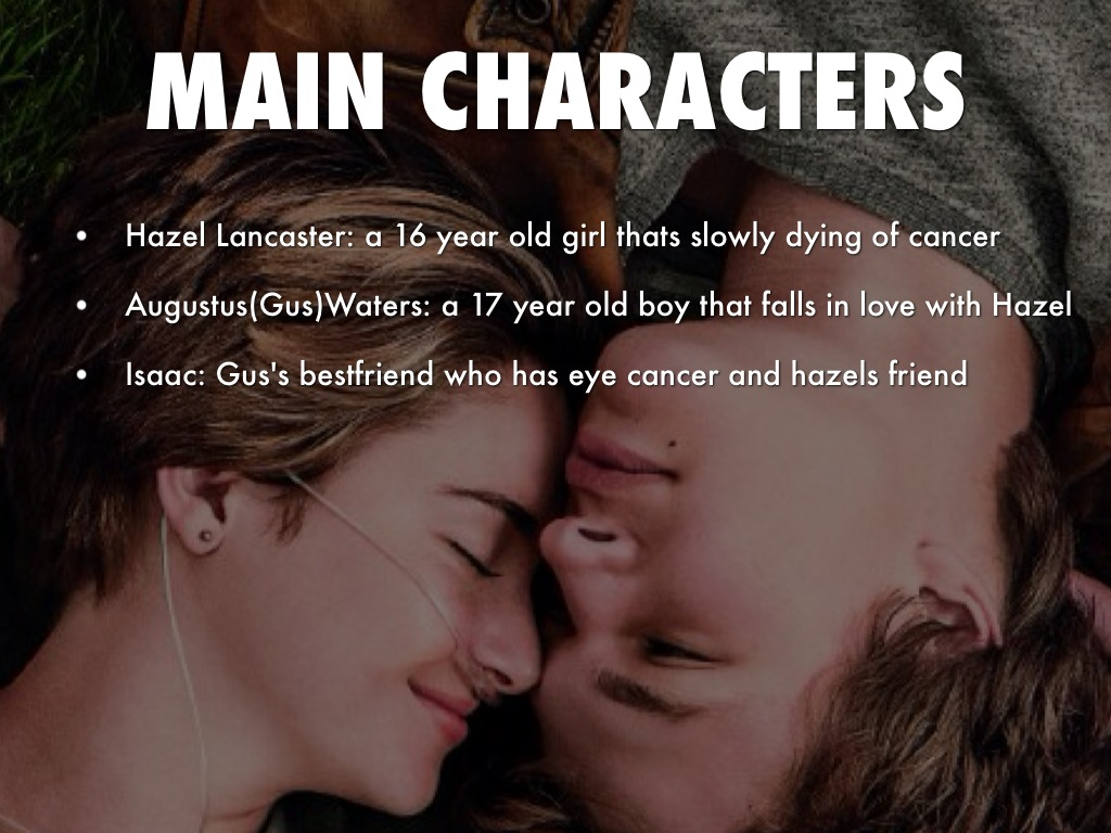 character the fault in our stars 1 hazel grace lancaster is the main character of the book since she was young hazel has suffered with thyroid cancer that spread to her lungs, linking her life to.