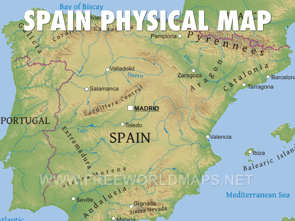 Spain By Mark McDearman - Physical map of spain