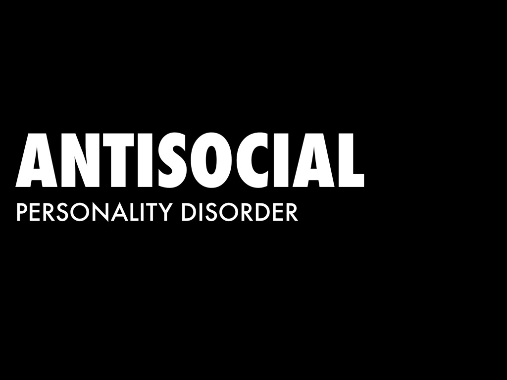 antisocial persoanlity disorder Antisocial personality disorder, like other personality disorders, is a longstanding pattern of behavior and experience that impairs functioning and causes distress by definition, people with antisocial personality disorder don't follow society's norms, are deceitful and intimidating in.