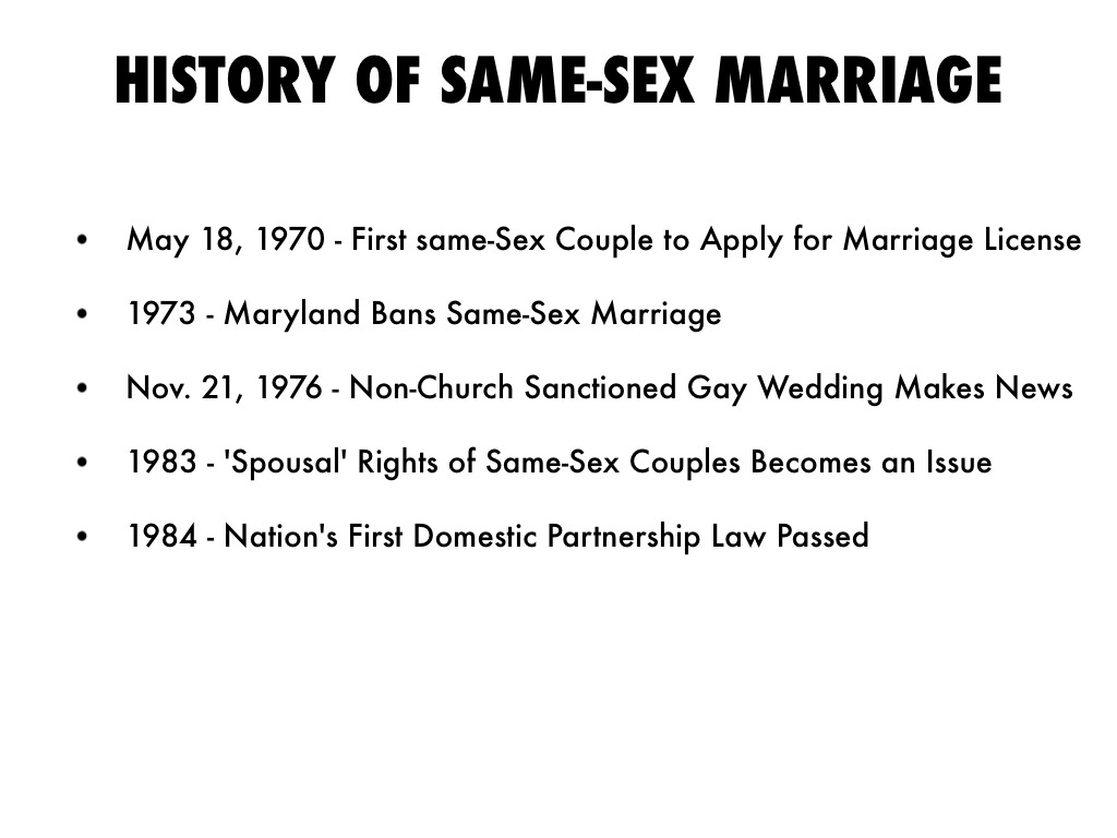History on same sex marriage