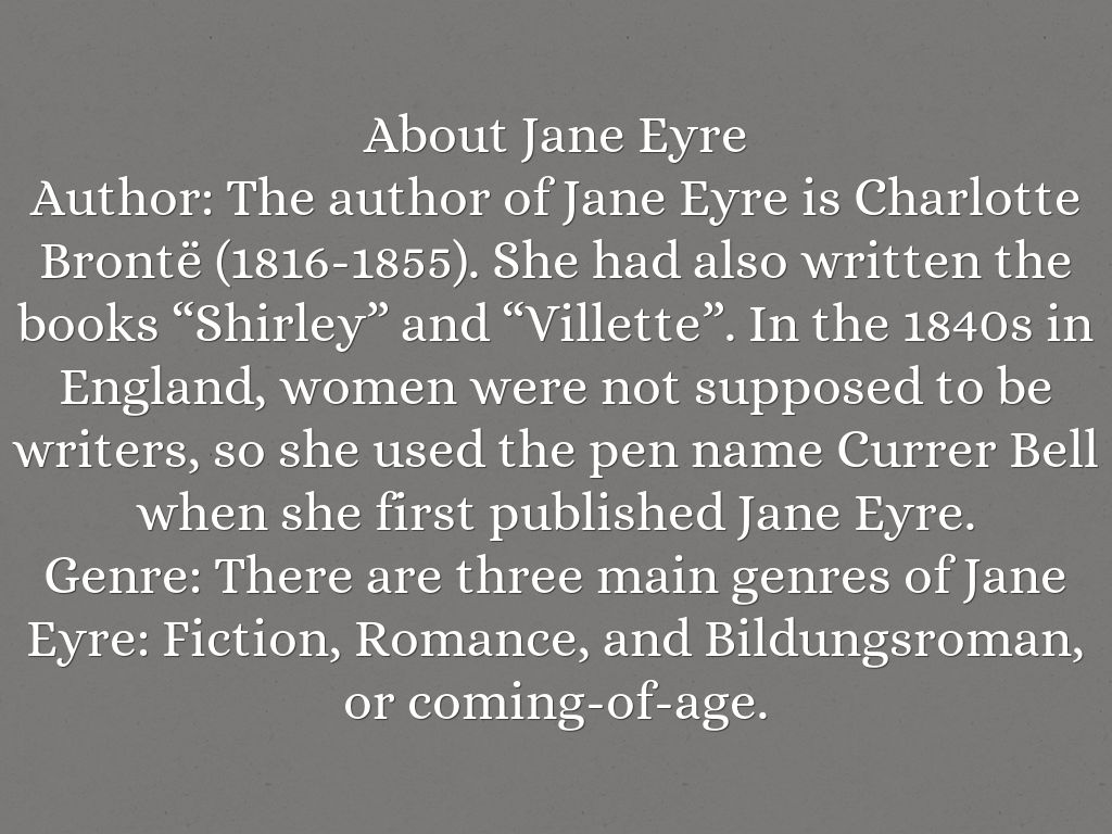 an example of bildungsroman essay in jane eyre by charlotte bronte Jane eyre by charlotte bronte we will write a custom essay sample on maya angelou and jane eyre both have unconventional.