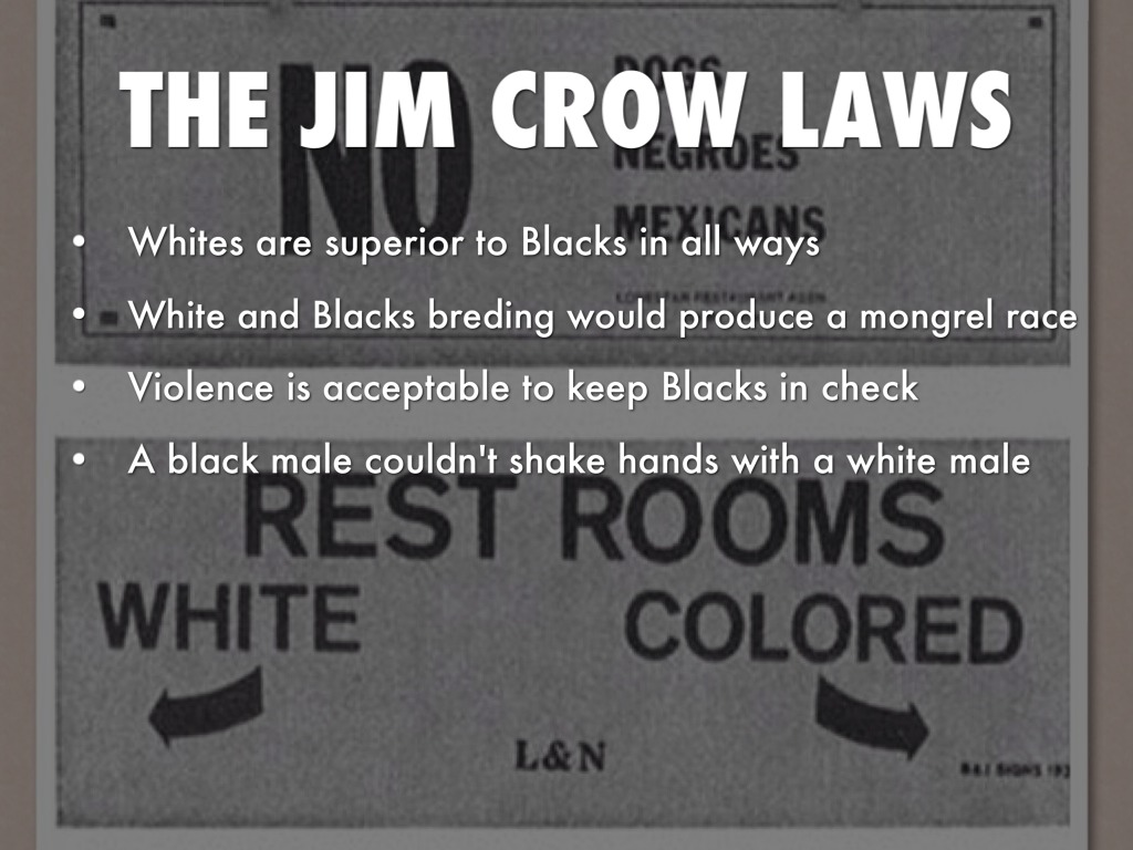 jim crow laws This is a list of examples of jim crow laws, which were state and local laws in the united states enacted between 1876 and 1965.