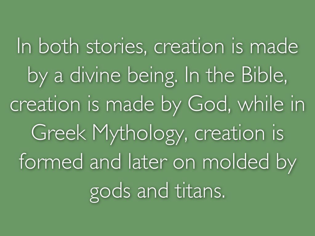 a comparison of qualities on both the biblical creation myth and the japanese creation myth Home the kojiki japanese mythology outside of the kojiki and izanagi and izanami's creation of the world is similar to the story of both tales show.