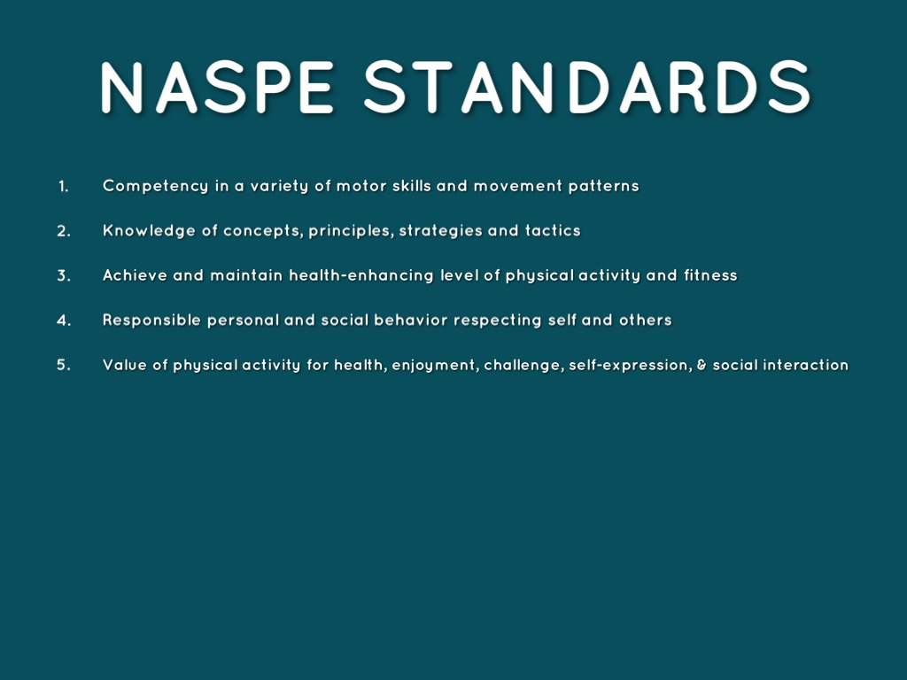 Reaction About the Naspe Standards - Essay Example