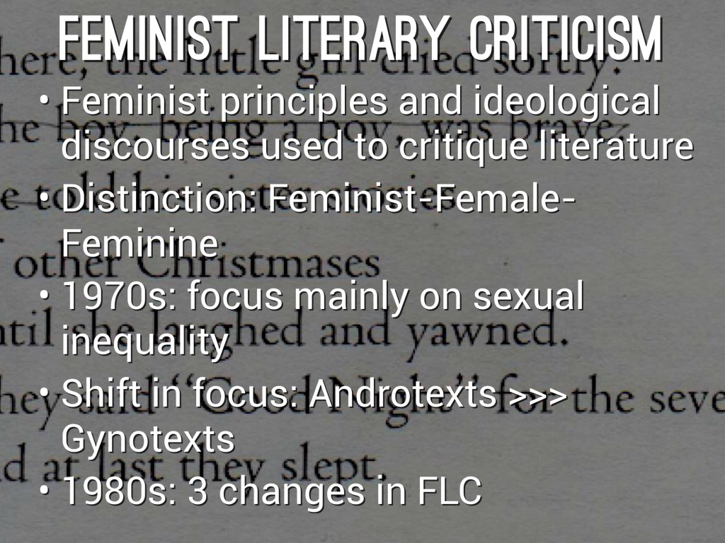 feminist literary criticism in english literature essay Feminist criticism (1960s-present) purdue owl: literary theory and schools of criticism ap english 12--langdahl: gender criticism essay.