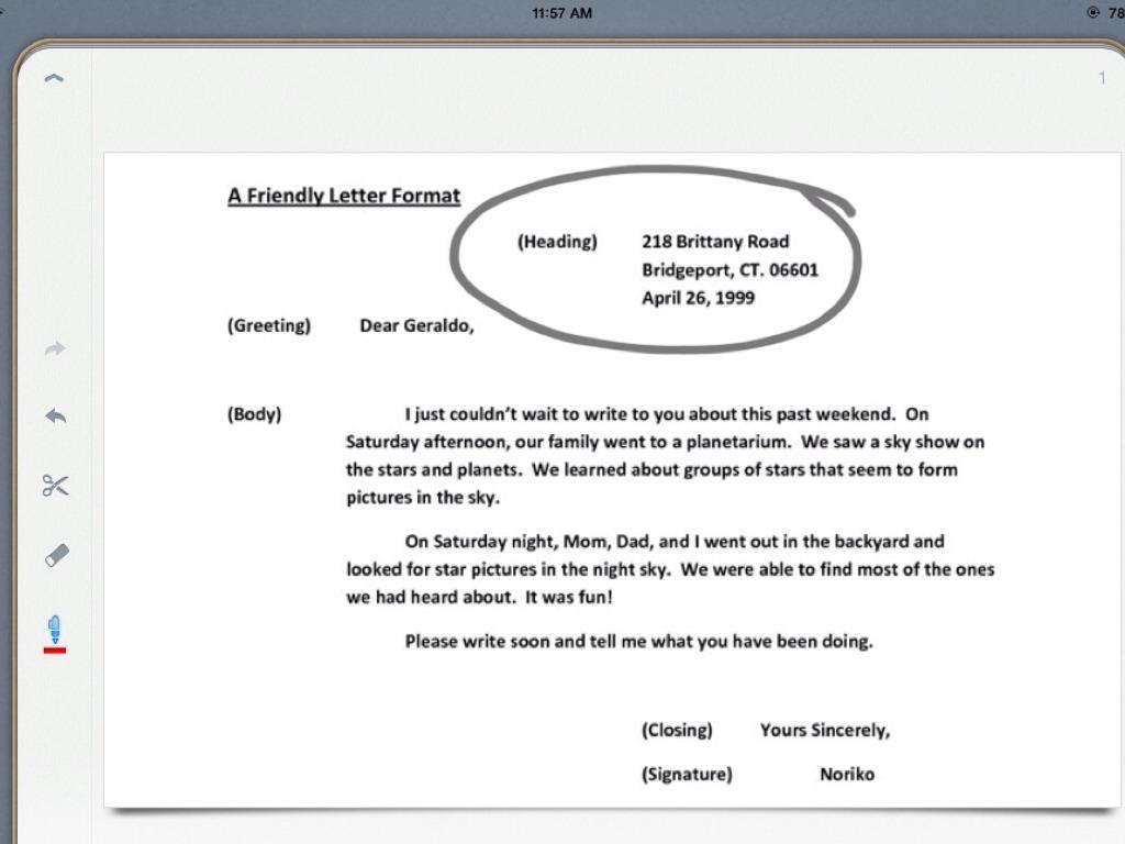 Friendly Letter Writing By Samantha Perez