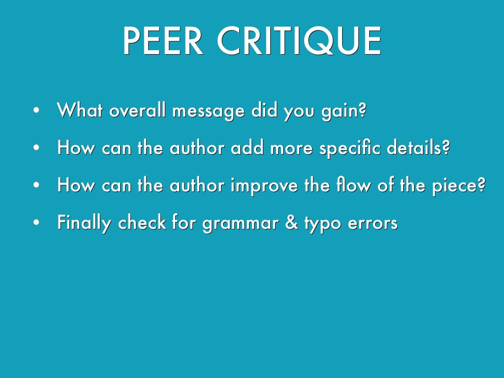 peer critique Peer review in three minutes how do articles get peer reviewed what role does peer review play in scholarly research and publication.