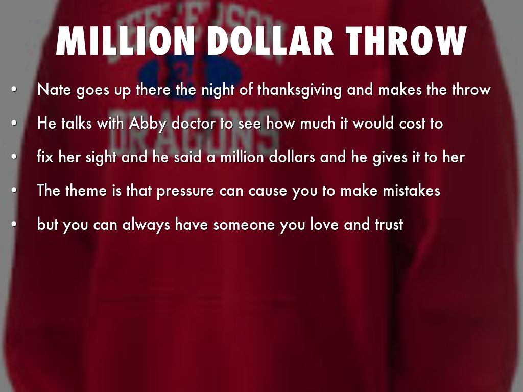 million dollar throw essay You may also sort these by color rating or essay length  founder david cook built a six million dollar  not paying bonds and throw financial markets.