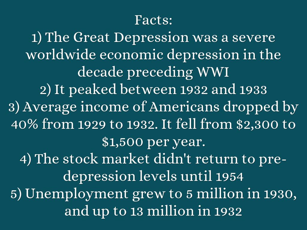 the great depression facts Amazoncom: just the facts: emergence of modern america - the great depression: just the facts, cerebellum corporation: movies & tv.