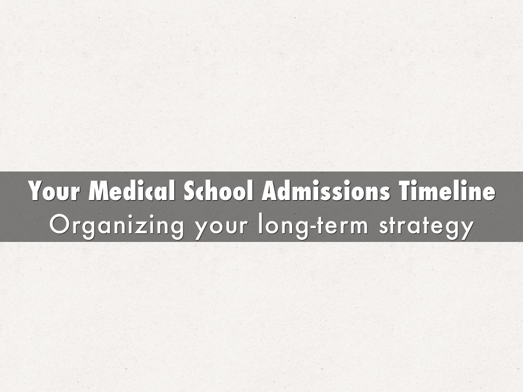 Your Medical School Admissions Timeline