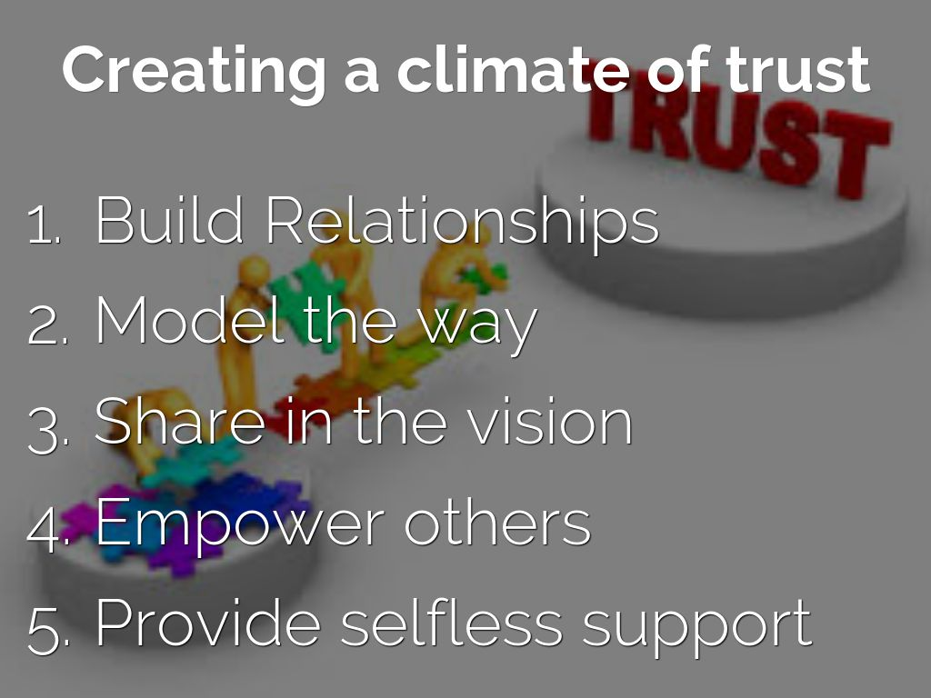 climate of trust Constructing a climate of trust posted on february 1, 2017 by matthiaseyford trust is an essential component in any channel of the communication process within any organization.