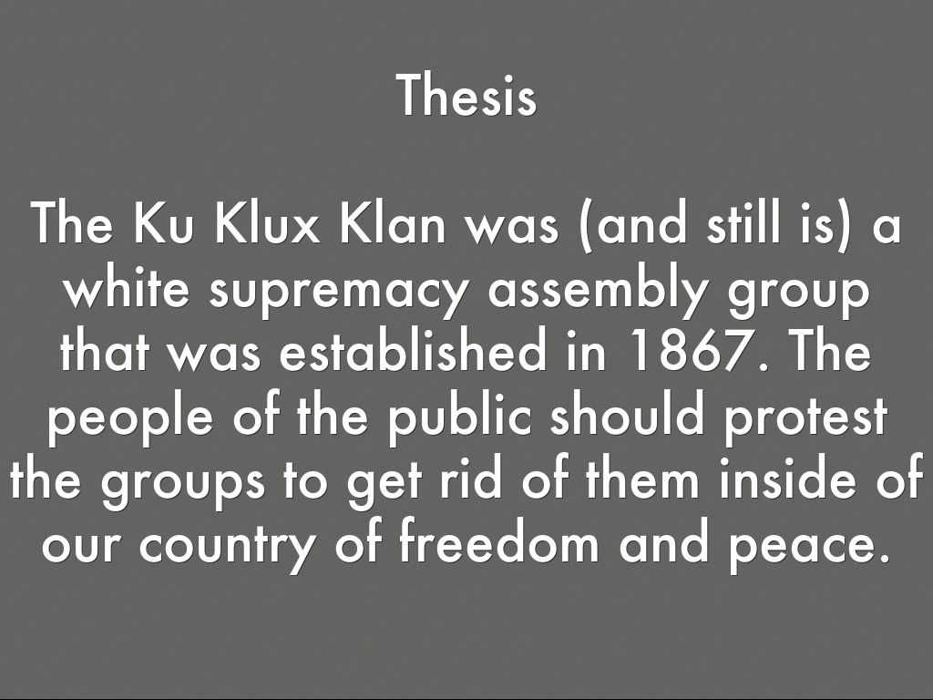 kkk essay thesis