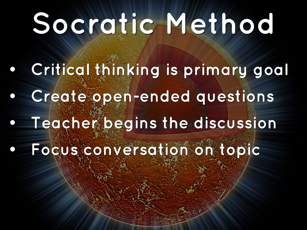 socratic method Heidegger characterizes the socratic method as a kind of productive negation: by refuting that which stands in front of it—in socrates' case.