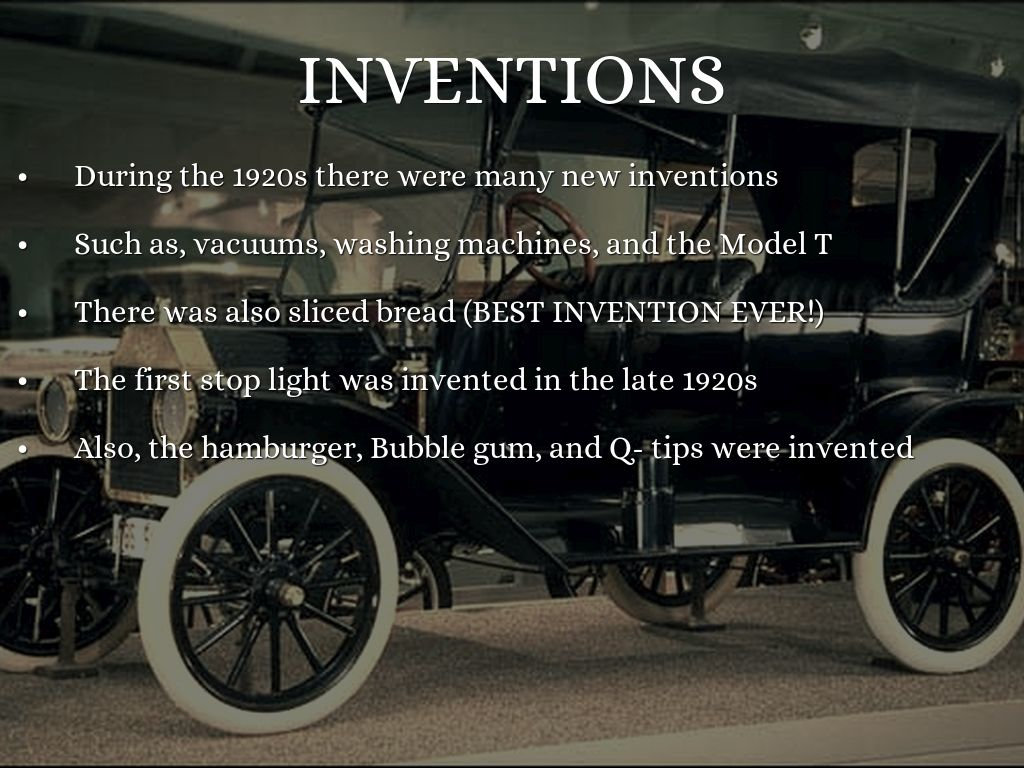 inventions of the 1920s essay Life of thomas alva edison one of the most famous and prolific inventors of all time, thomas alva edison exerted a tremendous influence on modern life, contributing inventions such as the incandescent light bulb, the phonograph, and the motion picture camera, as well as improving the telegraph and telephone.