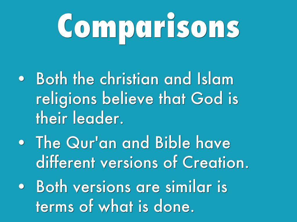 comparing islam to christianty