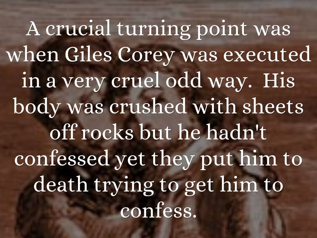 millers presentation of giles corey Book trivia question: how was giles corey killed in the crucible by arthur miller  answers: hung by the neck, drowned by the water test, burned at the st.
