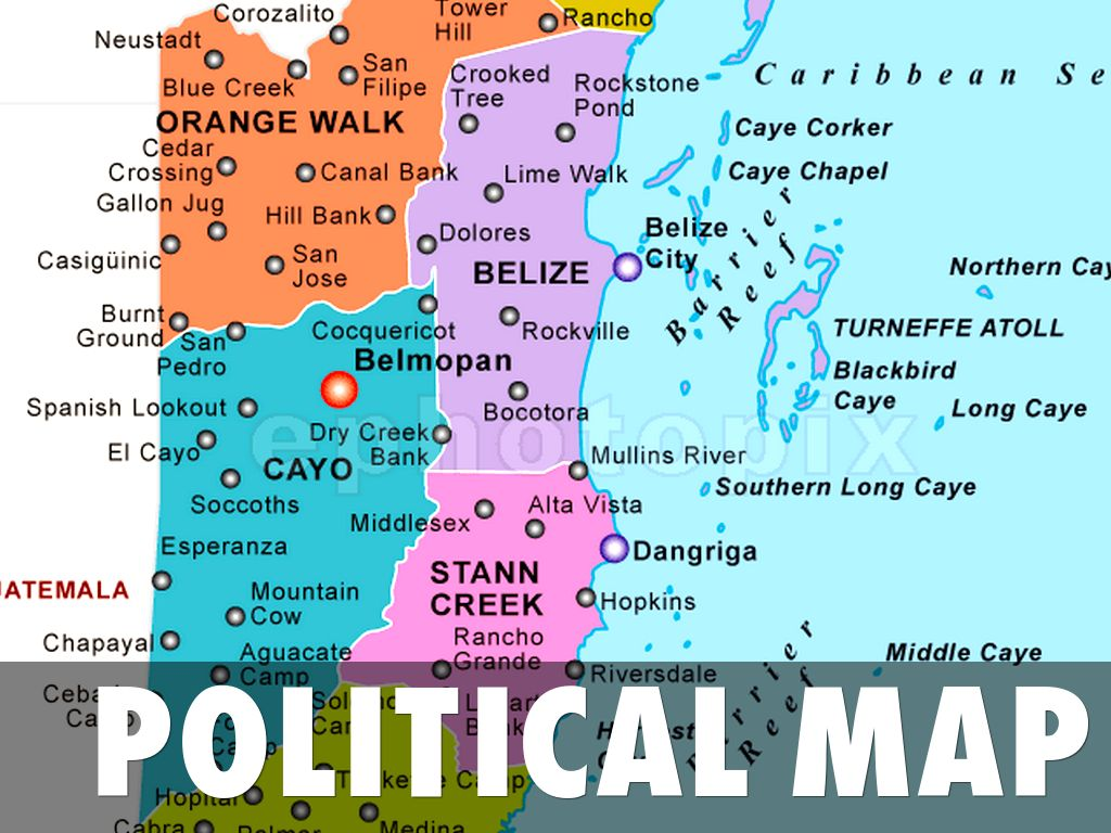 Belize Political Map.Administrative Map Of Belize