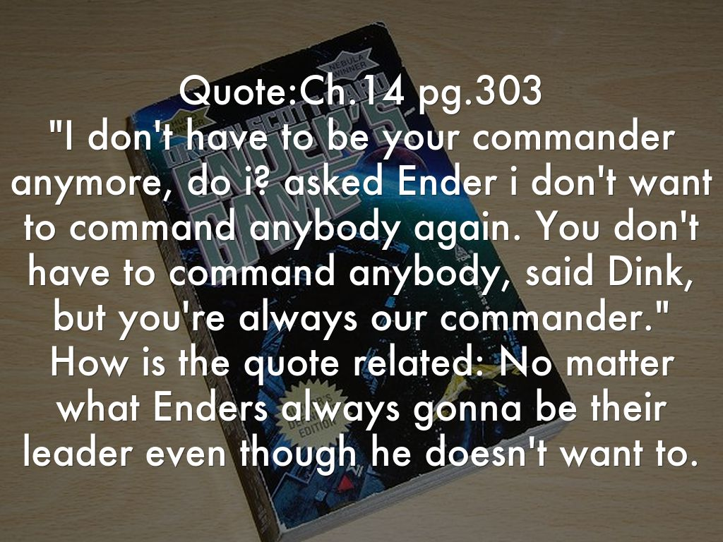 leadership enders game Life lessons from ender's game (the movie)  it is a fun read, and is chock full of lessons on life, leadership, management, and empathy i also suggest the other.