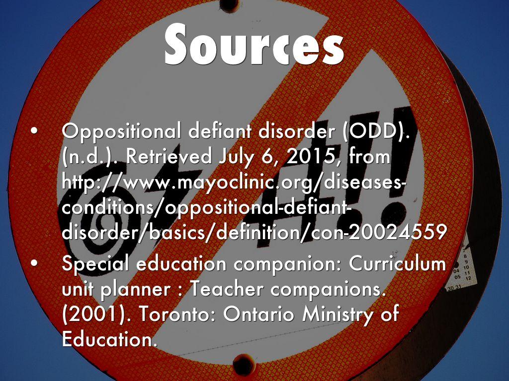 oppostional defiant disorder