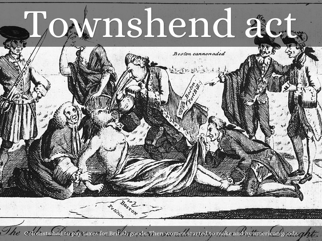 the townshend acts The townshend act authorized parliament to issue a new set of taxes on in demand imports such as glass, lead, paint, paper and tea parliament also reduced the number .