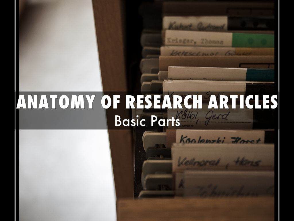 Parts of a Research Article by Maria Bonet