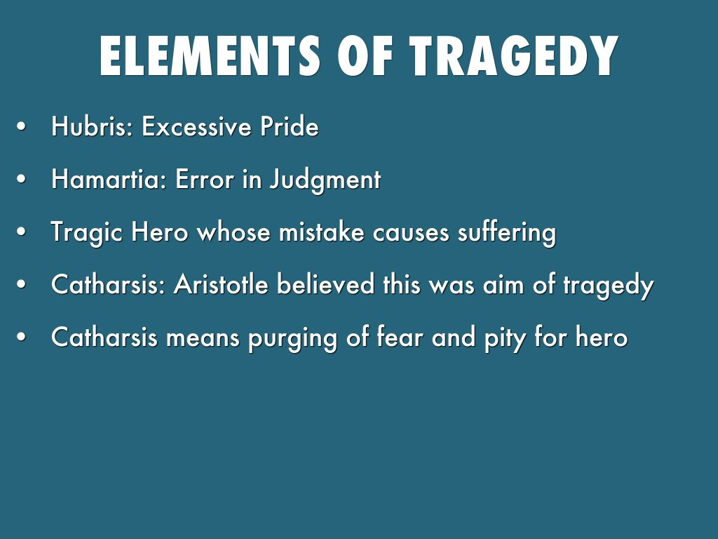 elements of tragedy Shakespearean tragedy usually works on a five-part structure, corresponding to the five acts: part one, the exposition, outlines the situation, introduces the main.