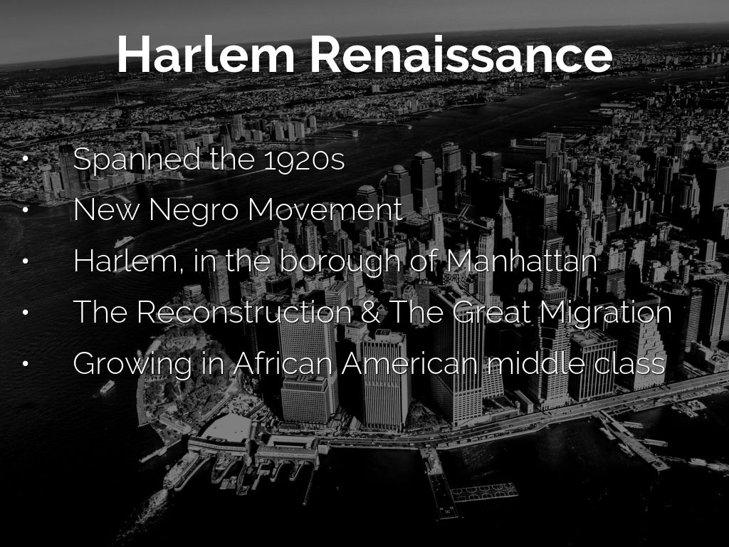 a description of the harlem renaissance Get an answer for 'what is a good summary of the harlem renaissance' and find homework help for other history, the harlem renaissance celebrates african-american culture questions at enotes.