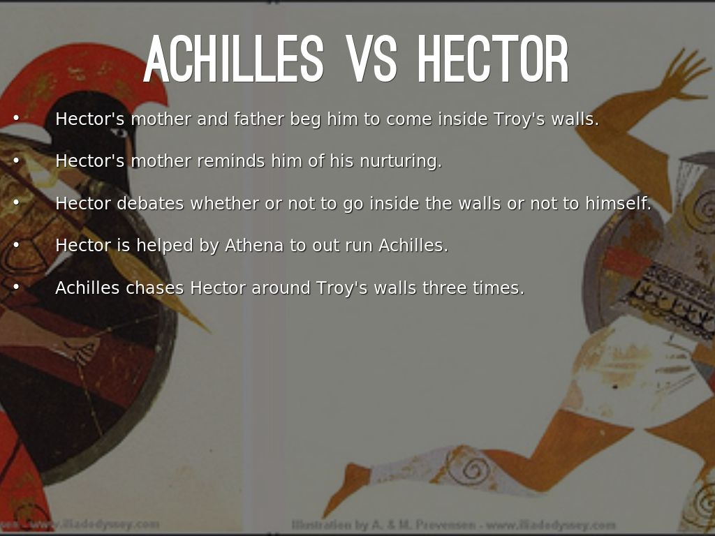 an analysis of hector versus achilles in the iliad Comparison of achilles and hector essayshomer's epic the iliad takes place in the ninth year of a ten year war between the trojans and the achaeans this great war places hector (of the.