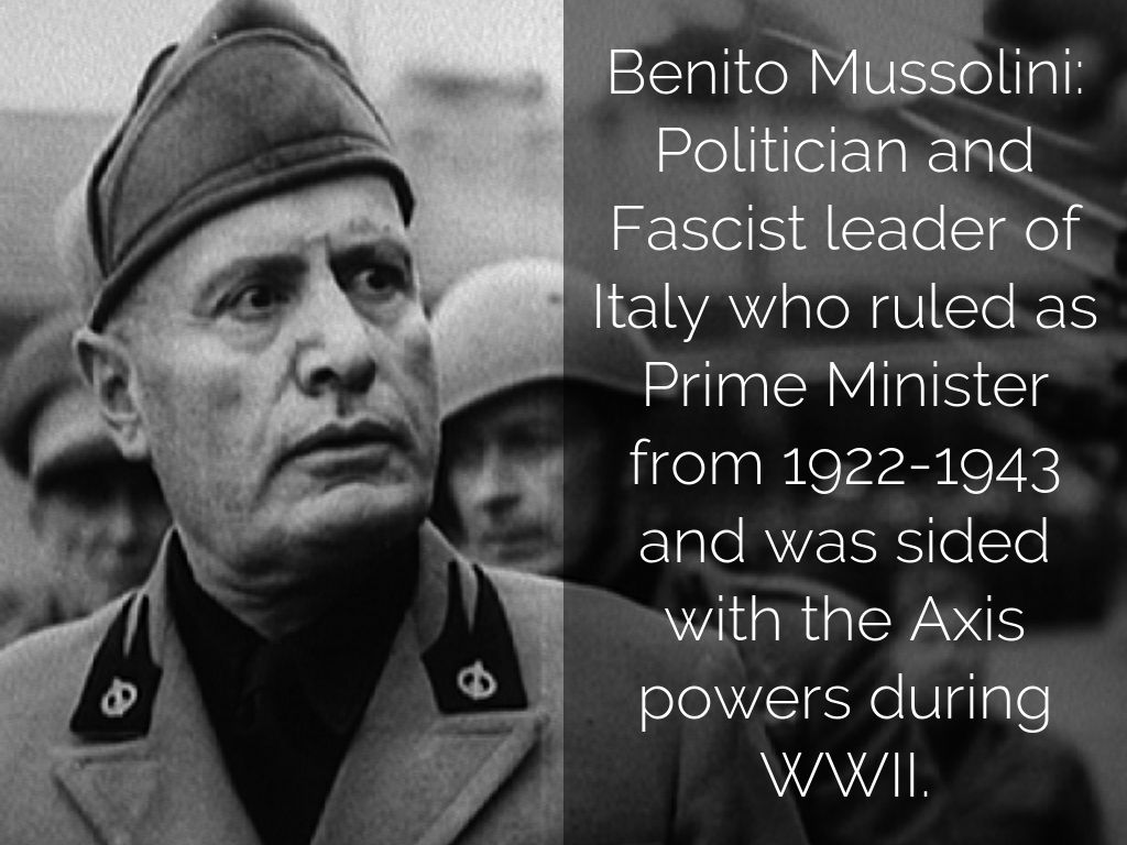 the facts about benito mussolini an italian fascist leader Benito amilcare andrea mussolini was an italian politician and journalist who was the leader of the national fascist party fascio is an italian word literally meaning a bundle or a sheaf, and figuratively league, and which was used in the late 19th century to refer to political groups of many.
